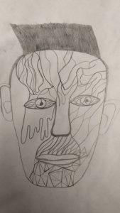 Das habe ich in Kunst gezeichnet, das besteht aus nur einer Linie.