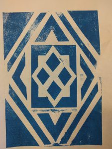 Das ist im letzten Kunstunterricht durch eine Art selbst gemachten Stempel entstanden. Dazu habe ich erst die einzelnen Flächen aus einem dicken Blatt Papier ausgeschnitten, auf ein weiteres Papier geklebt und dann als Schutz eine Schicht Flüssigkleber darauf trocknen lassen. Anschließend habe ich mit einer Rolle Farbe aufgetragen und das Ganze dann durch eine Druckpresse gejagt.